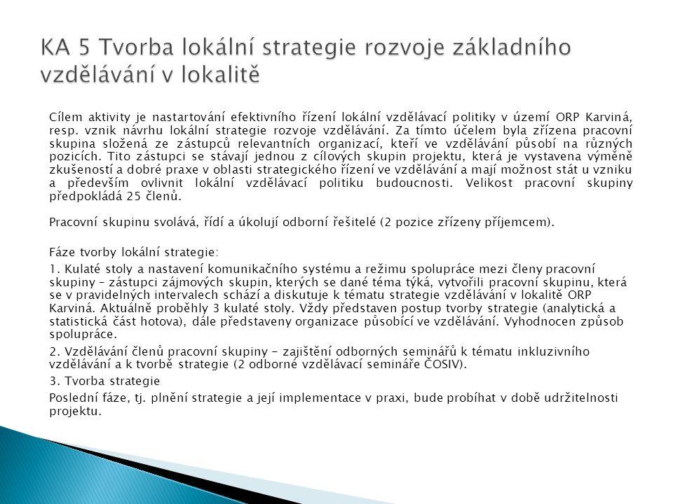 KA 5 Tvorba lokální strategie rozvoje základního vzdělávání v lokalitě
