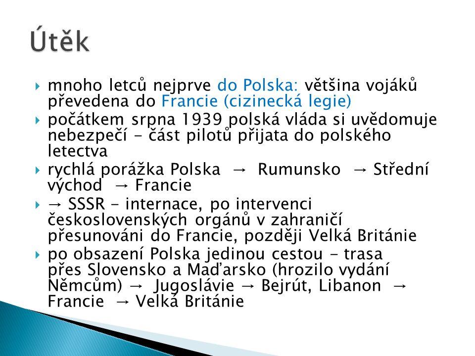 Útěk mnoho letců nejprve do Polska: většina vojáků převedena do Francie (cizinecká legie)