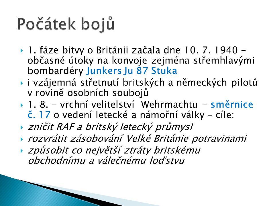 Počátek bojů 1. fáze bitvy o Británii začala dne 10. 7. 1940 - občasné útoky na konvoje zejména střemhlavými bombardéry Junkers Ju 87 Stuka.