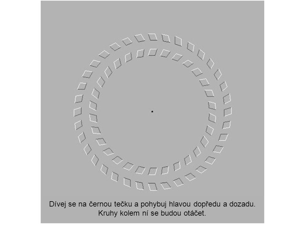 Dívej se na černou tečku a pohybuj hlavou dopředu a dozadu.