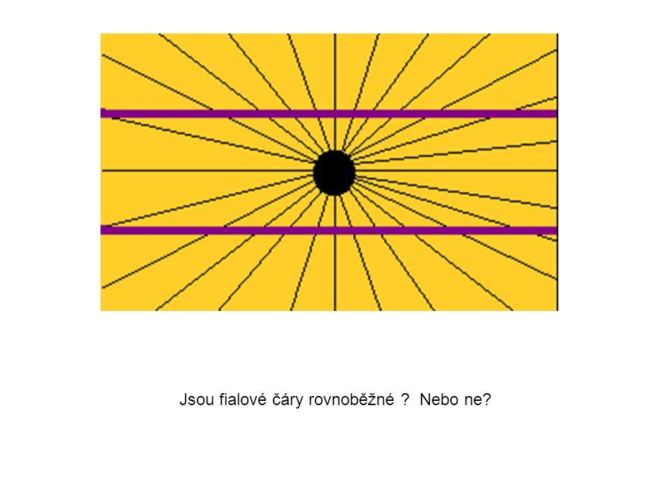 Jsou fialové čáry rovnoběžné Nebo ne