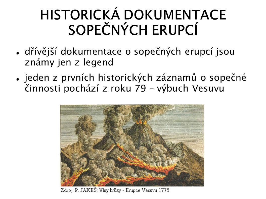 HISTORICKÁ DOKUMENTACE SOPEČNÝCH ERUPCÍ