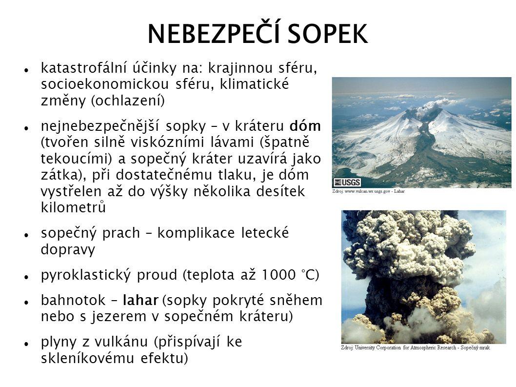 NEBEZPEČÍ SOPEK katastrofální účinky na: krajinnou sféru, socioekonomickou sféru, klimatické změny (ochlazení)