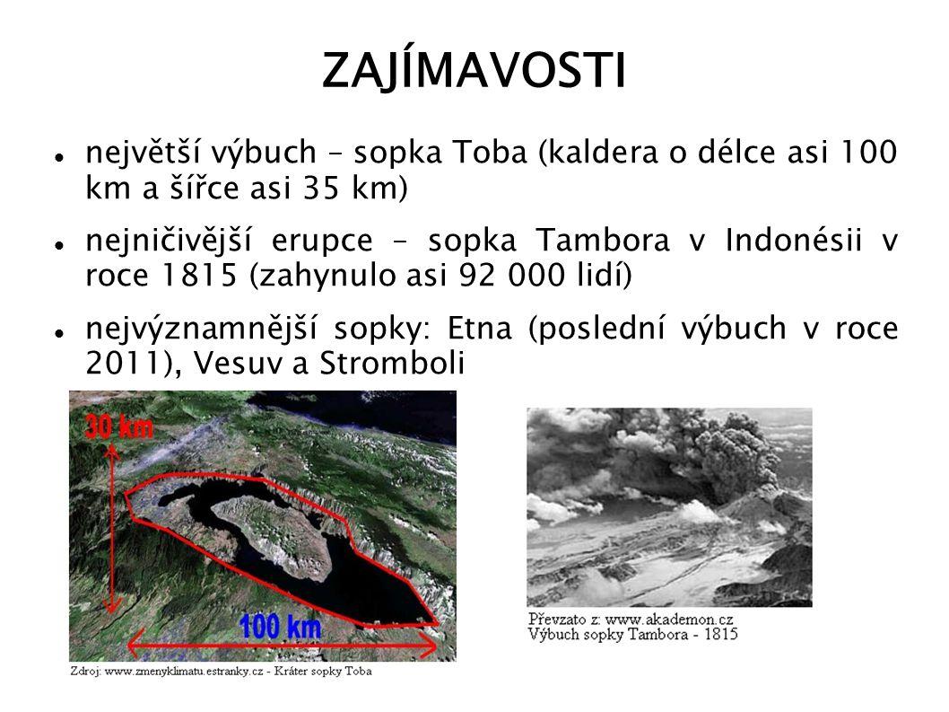 ZAJÍMAVOSTI největší výbuch – sopka Toba (kaldera o délce asi 100 km a šířce asi 35 km)