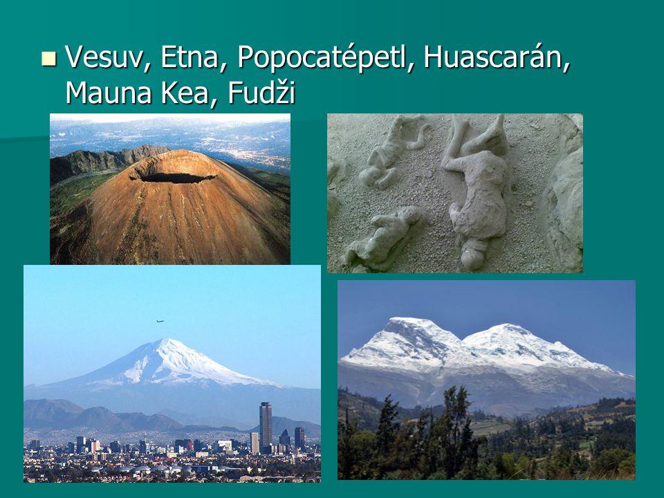 Vesuv, Etna, Popocatépetl, Huascarán, Mauna Kea, Fudži