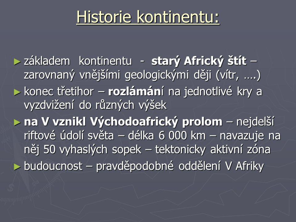 Historie kontinentu: základem kontinentu - starý Africký štít – zarovnaný vnějšími geologickými ději (vítr, ….)