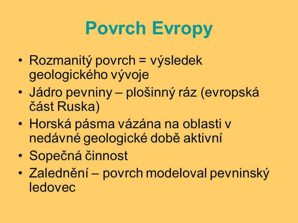 Povrch Evropy Rozmanitý povrch = výsledek geologického vývoje