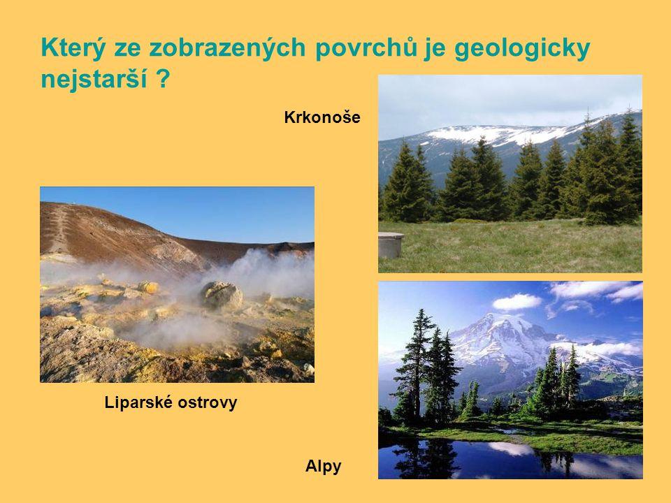 Který ze zobrazených povrchů je geologicky nejstarší