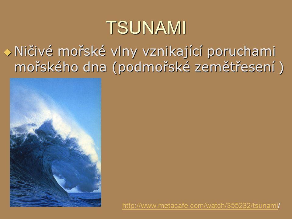 TSUNAMI Ničivé mořské vlny vznikající poruchami mořského dna (podmořské zemětřesení ) http://www.metacafe.com/watch/355232/tsunami/