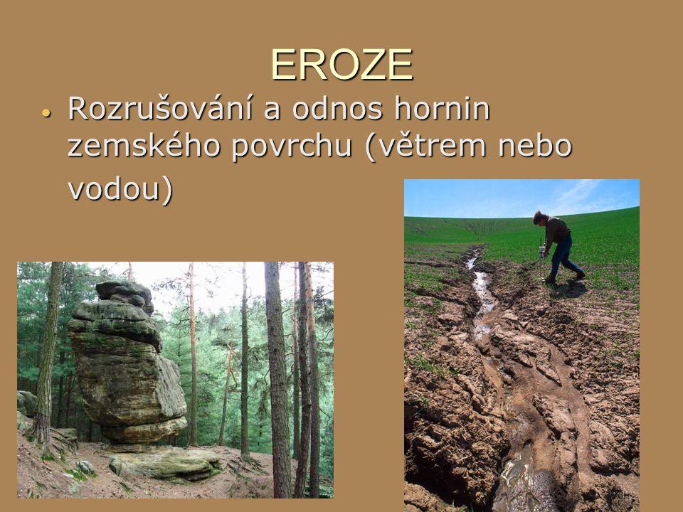 EROZE Rozrušování a odnos hornin zemského povrchu (větrem nebo vodou)