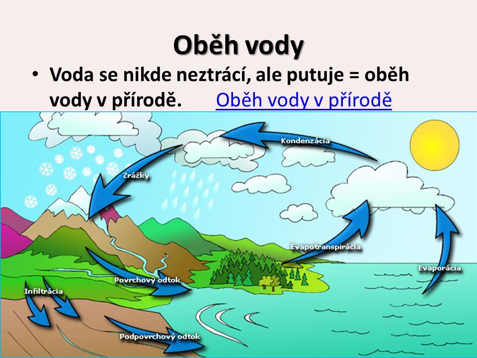 Oběh vody Voda se nikde neztrácí, ale putuje = oběh vody v přírodě. Oběh vody v přírodě