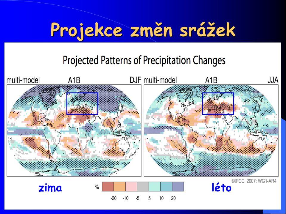 Projekce změn srážek zima léto 33