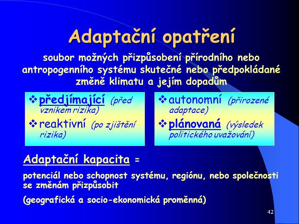 Adaptační opatření předjímající (před vznikem rizika)
