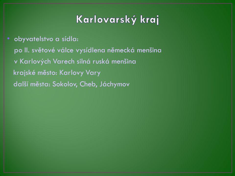 Karlovarský kraj obyvatelstvo a sídla: