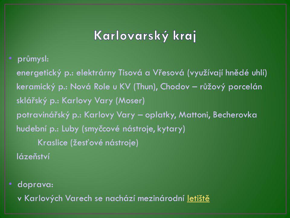 Karlovarský kraj průmysl: