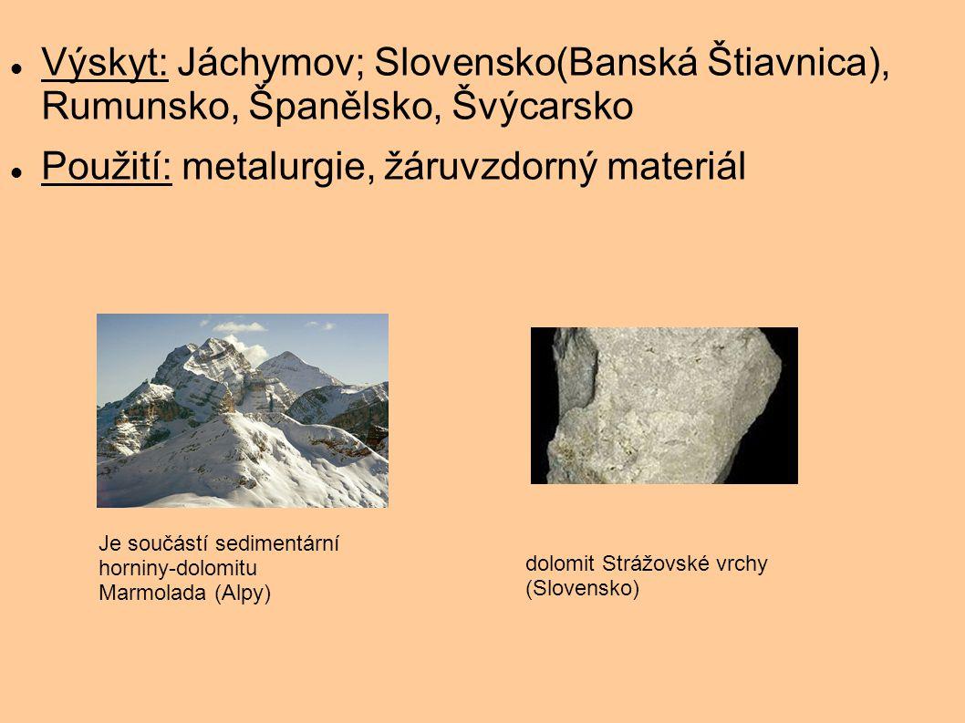 Použití: metalurgie, žáruvzdorný materiál