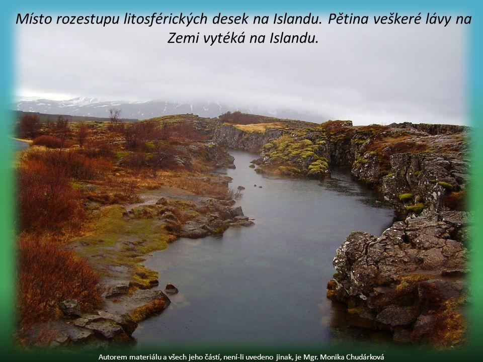 Místo rozestupu litosférických desek na Islandu