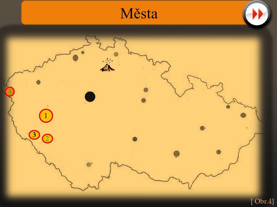 Města 4. 1. Práce s mapou, při kliknutí na očíslované kolečko se zobrazí nápověda k hledanému městu.