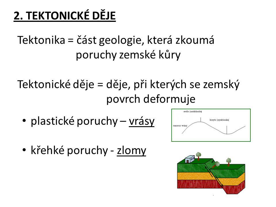 2. TEKTONICKÉ DĚJE Tektonika = část geologie, která zkoumá. poruchy zemské kůry. Tektonické děje = děje, při kterých se zemský.