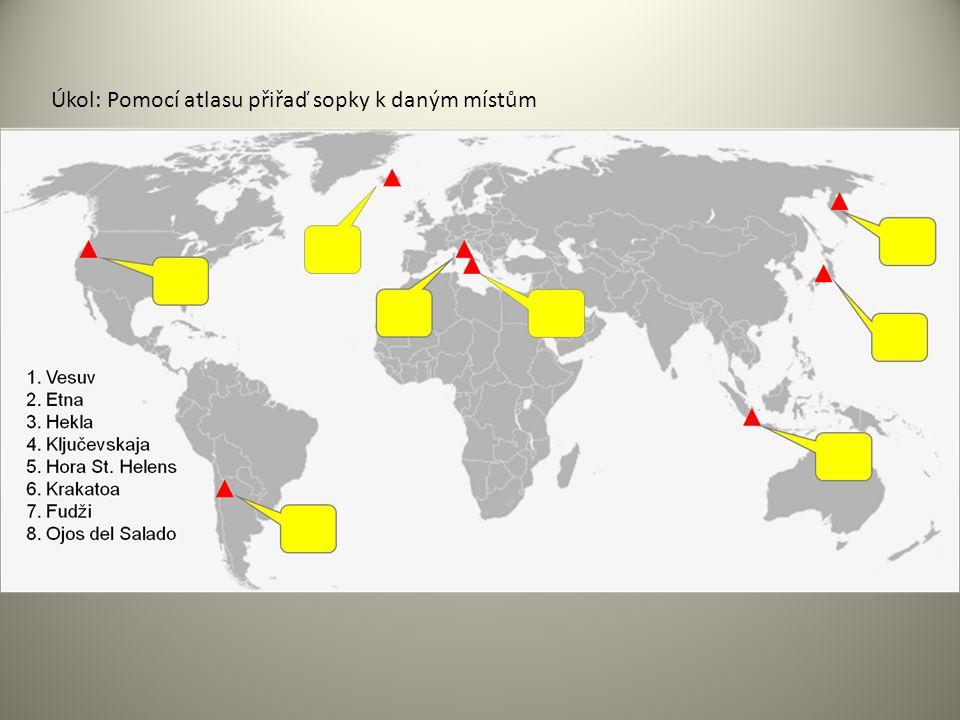 Úkol: Pomocí atlasu přiřaď sopky k daným místům