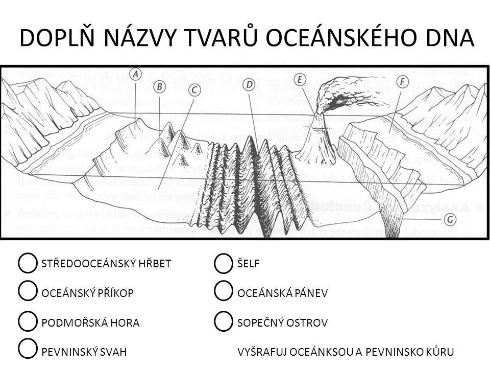 DOPLŇ NÁZVY TVARŮ OCEÁNSKÉHO DNA