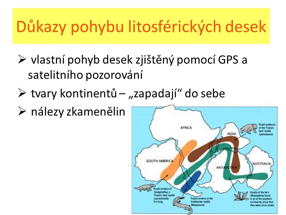 Důkazy pohybu litosférických desek