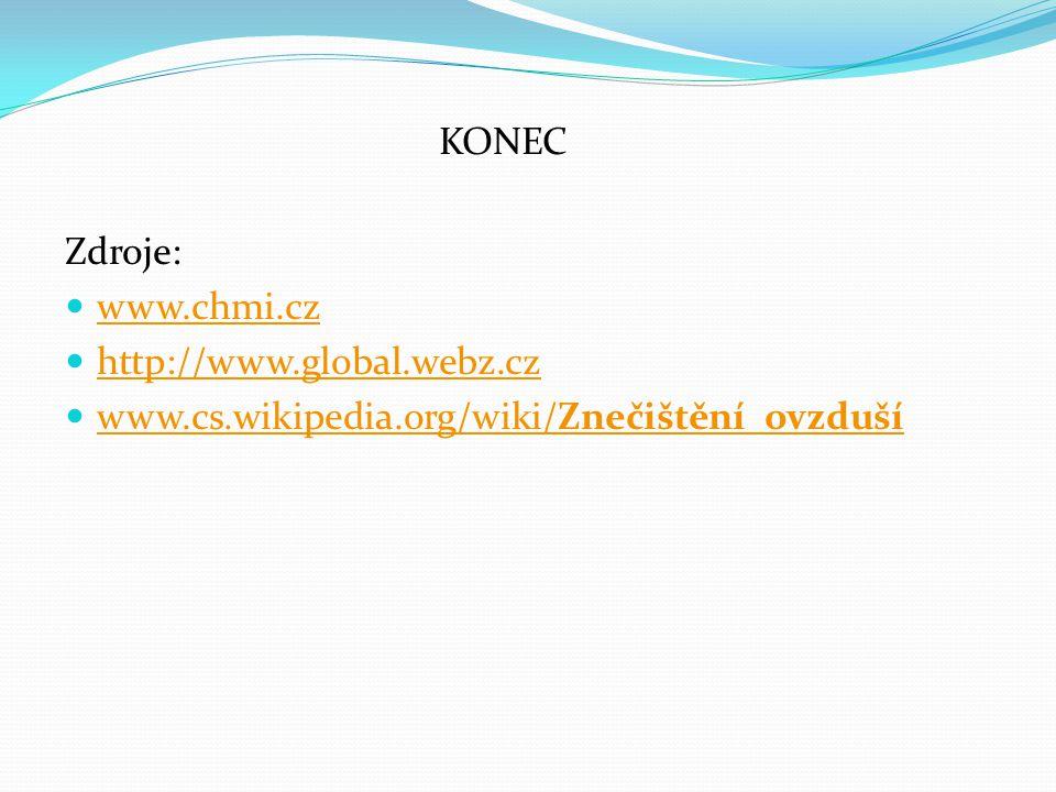 KONEC Zdroje: www.chmi.cz http://www.global.webz.cz www.cs.wikipedia.org/wiki/Znečištění_ovzduší