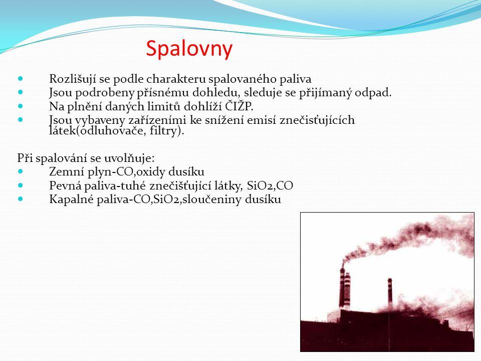 Spalovny Rozlišují se podle charakteru spalovaného paliva