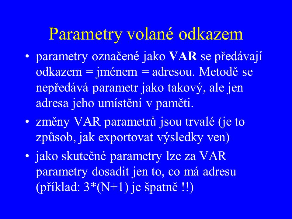 Parametry volané odkazem