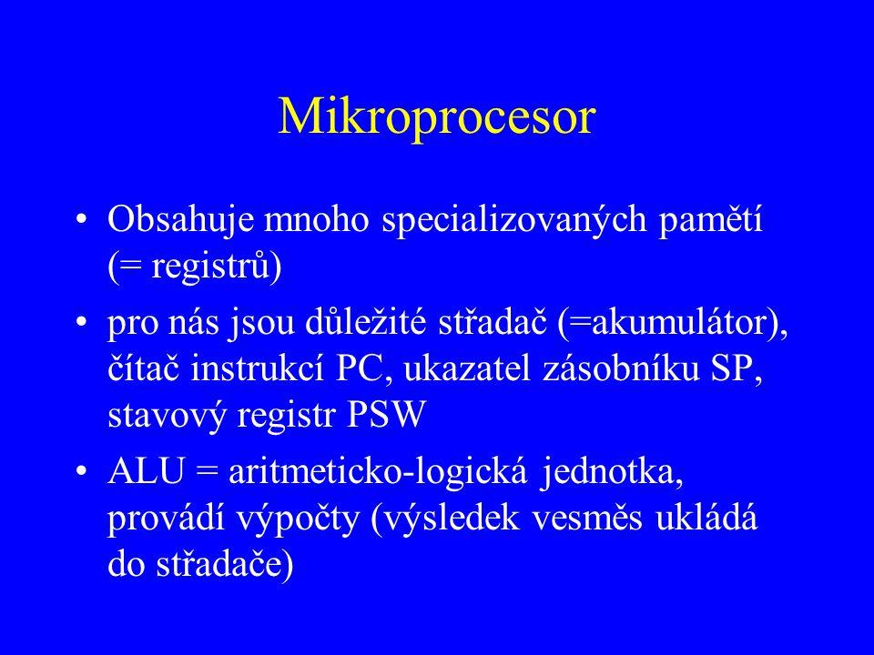 Mikroprocesor Obsahuje mnoho specializovaných pamětí (= registrů)