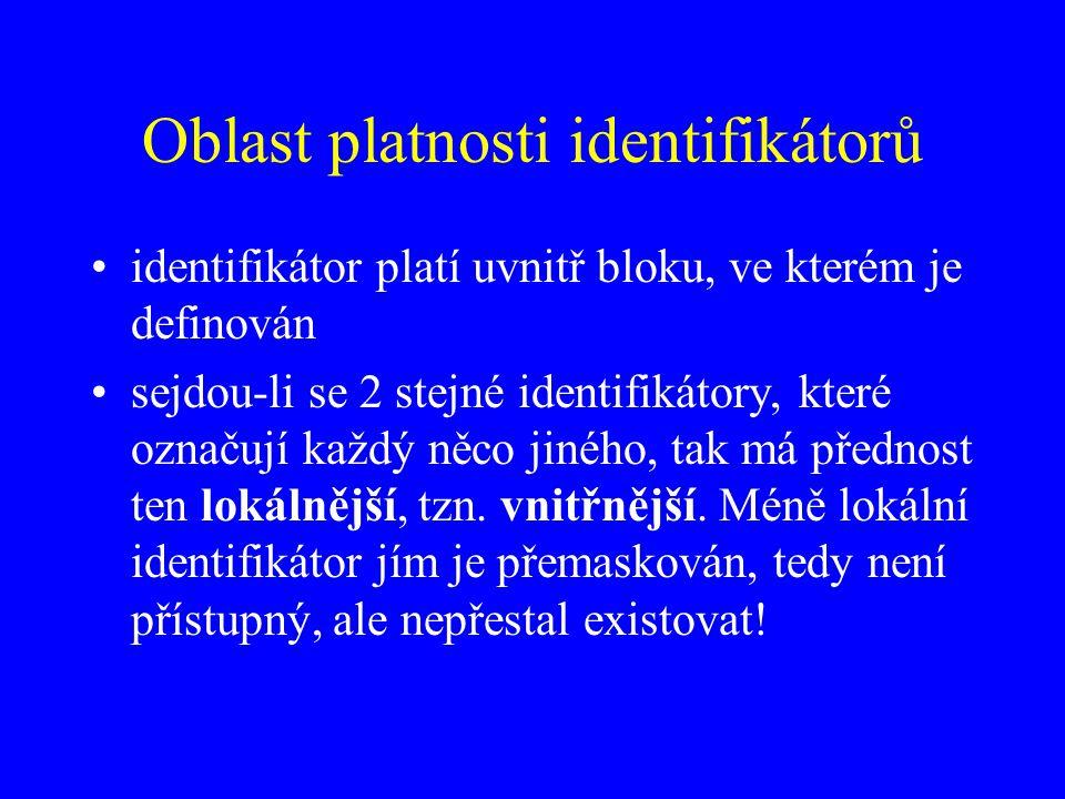 Oblast platnosti identifikátorů