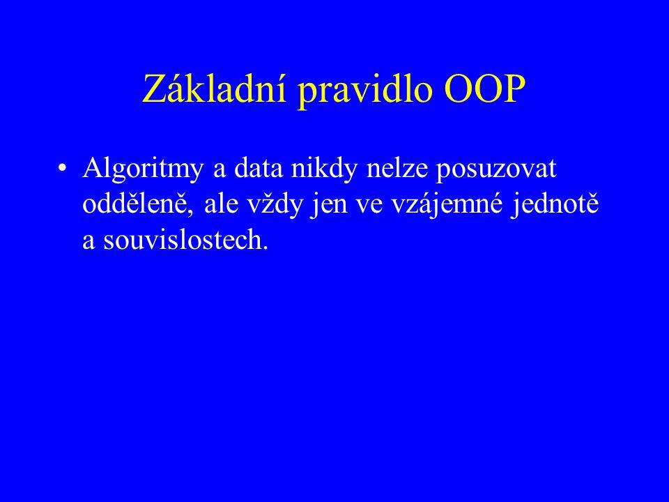 Základní pravidlo OOP Algoritmy a data nikdy nelze posuzovat odděleně, ale vždy jen ve vzájemné jednotě a souvislostech.