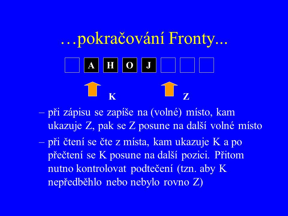 …pokračování Fronty... A. H. O. J. K. Z. při zápisu se zapíše na (volné) místo, kam ukazuje Z, pak se Z posune na další volné místo.