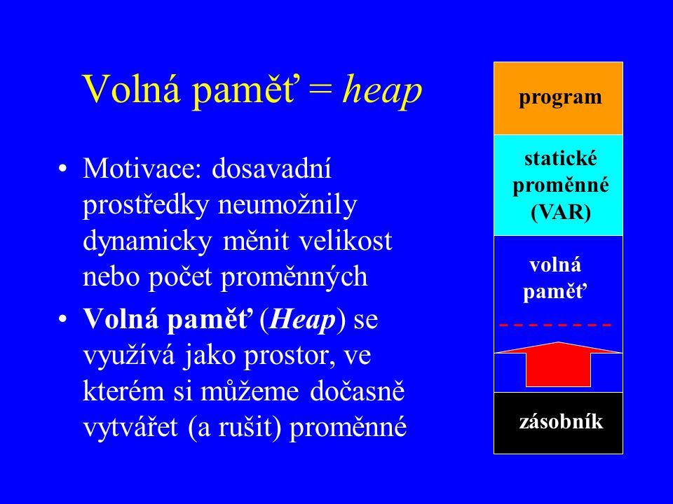 statické proměnné (VAR)