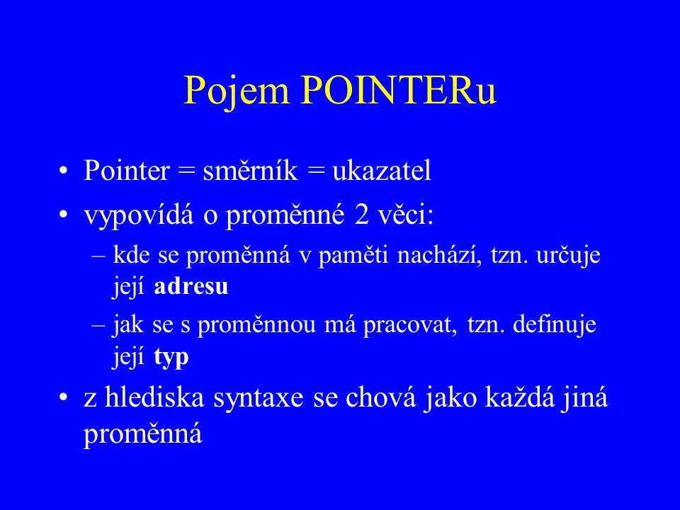 Pojem POINTERu Pointer = směrník = ukazatel