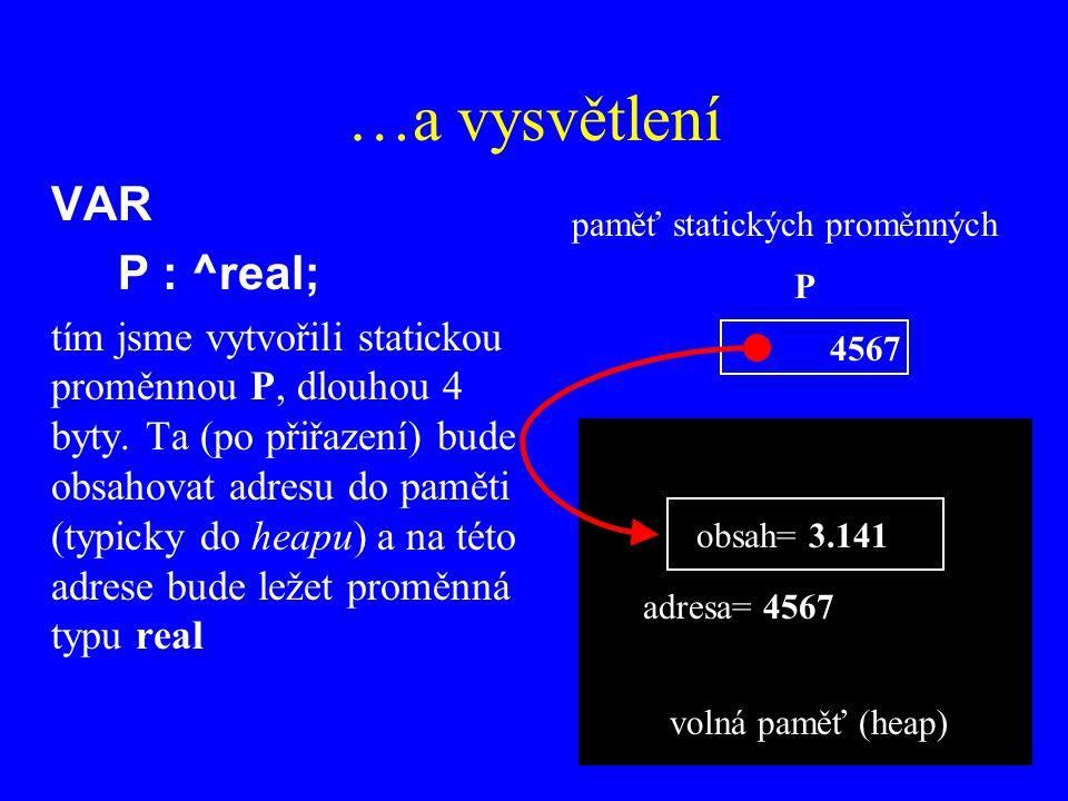 …a vysvětlení VAR P : ^real;