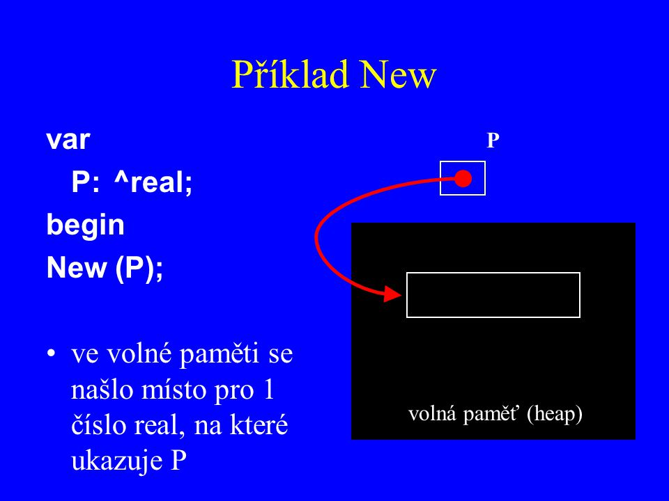Příklad New var P: ^real; begin New (P);