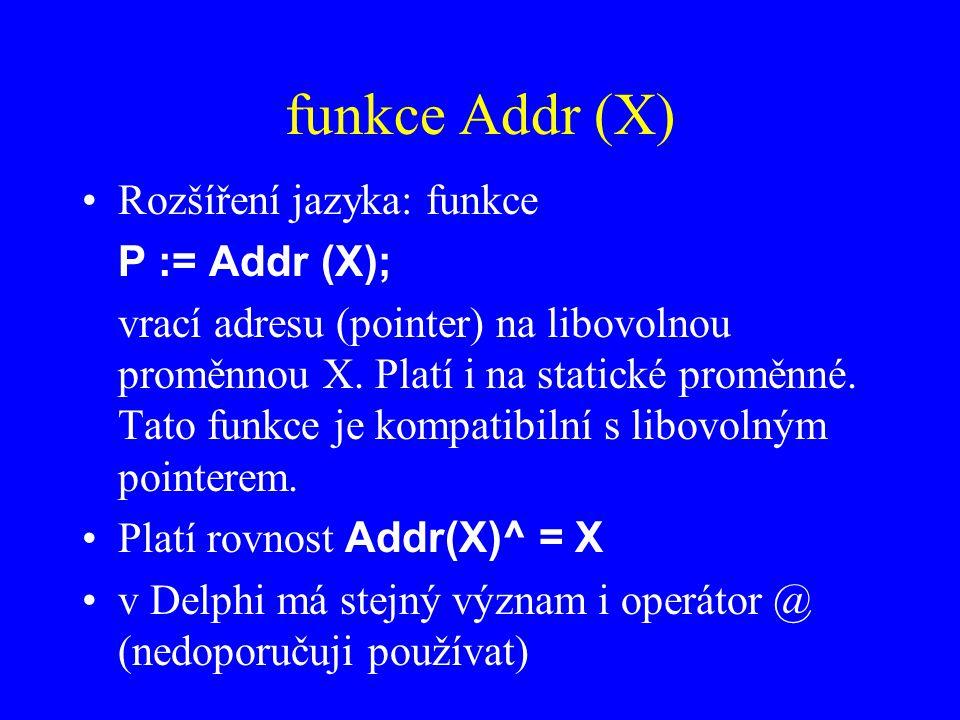funkce Addr (X) Rozšíření jazyka: funkce P := Addr (X);