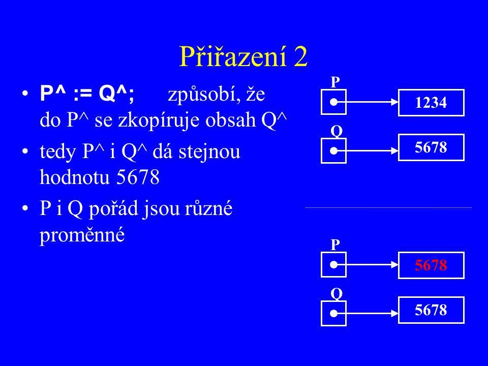 Přiřazení 2 P^ := Q^; způsobí, že do P^ se zkopíruje obsah Q^