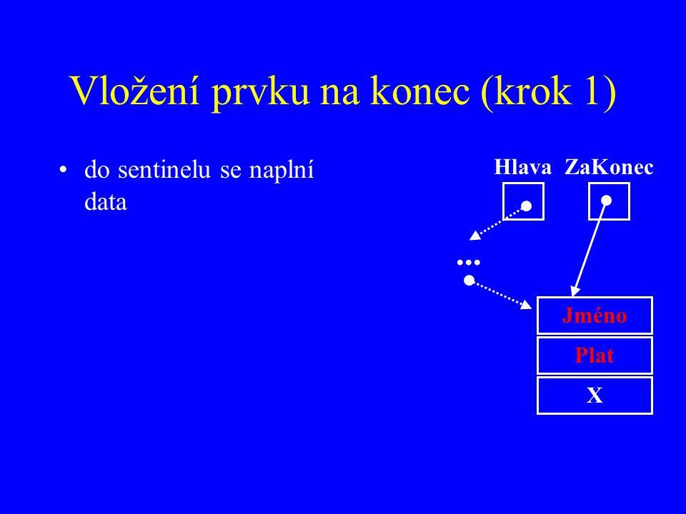 Vložení prvku na konec (krok 1)