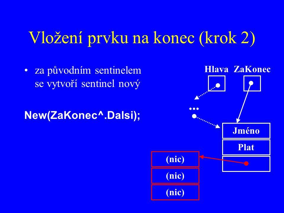Vložení prvku na konec (krok 2)