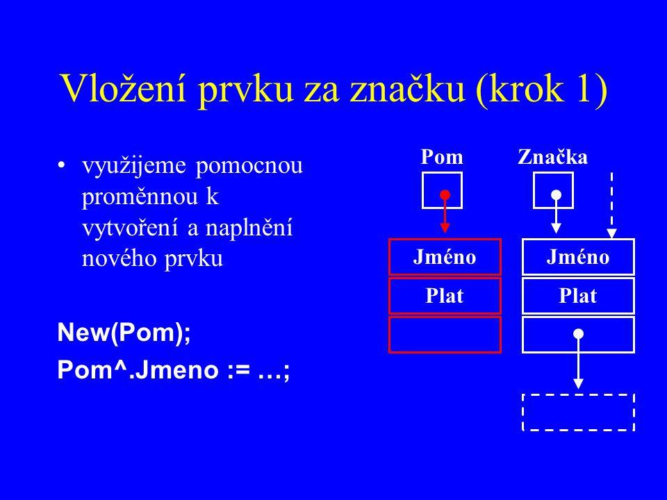 Vložení prvku za značku (krok 1)