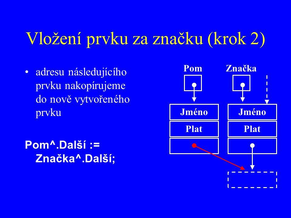 Vložení prvku za značku (krok 2)