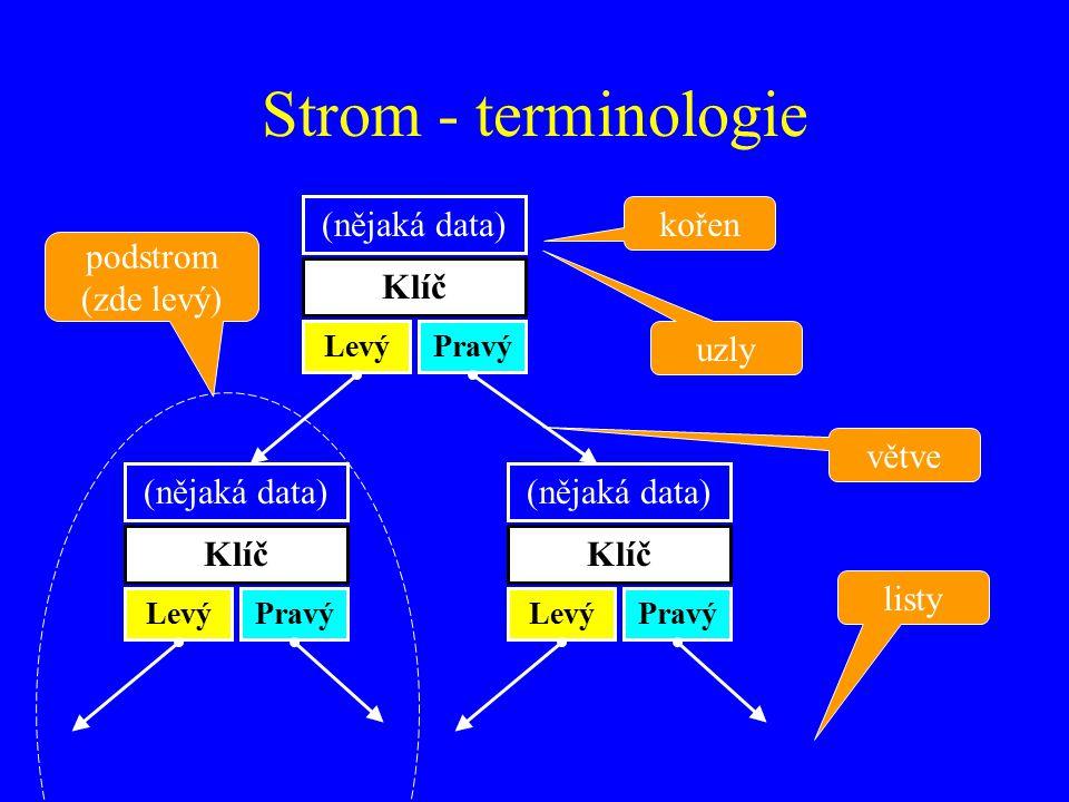 Strom - terminologie (nějaká data) kořen podstrom (zde levý) Klíč uzly