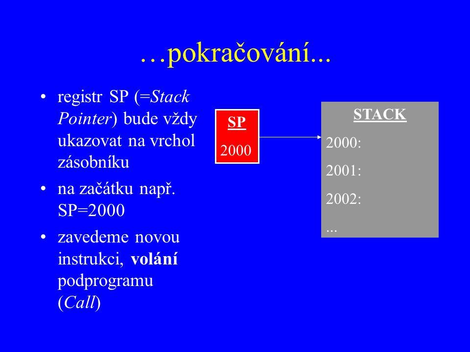 …pokračování... registr SP (=Stack Pointer) bude vždy ukazovat na vrchol zásobníku. na začátku např. SP=2000.