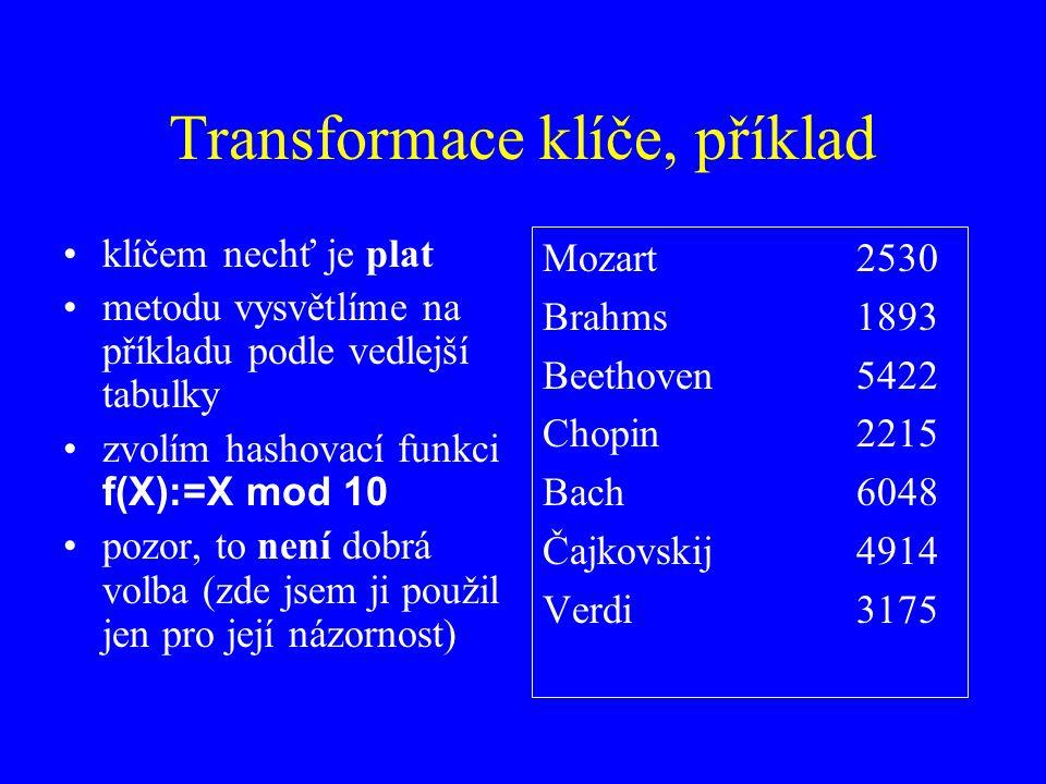 Transformace klíče, příklad