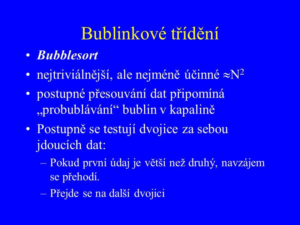 Bublinkové třídění Bubblesort nejtriviálnější, ale nejméně účinné N2