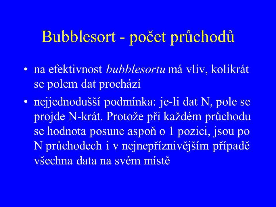 Bubblesort - počet průchodů