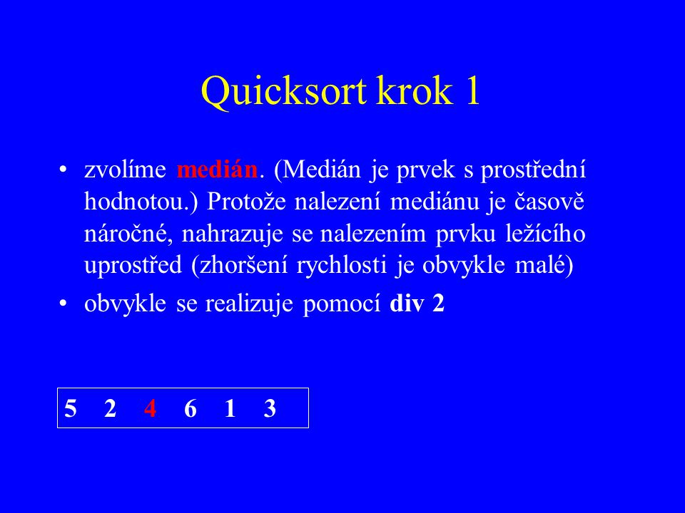 Quicksort krok 1