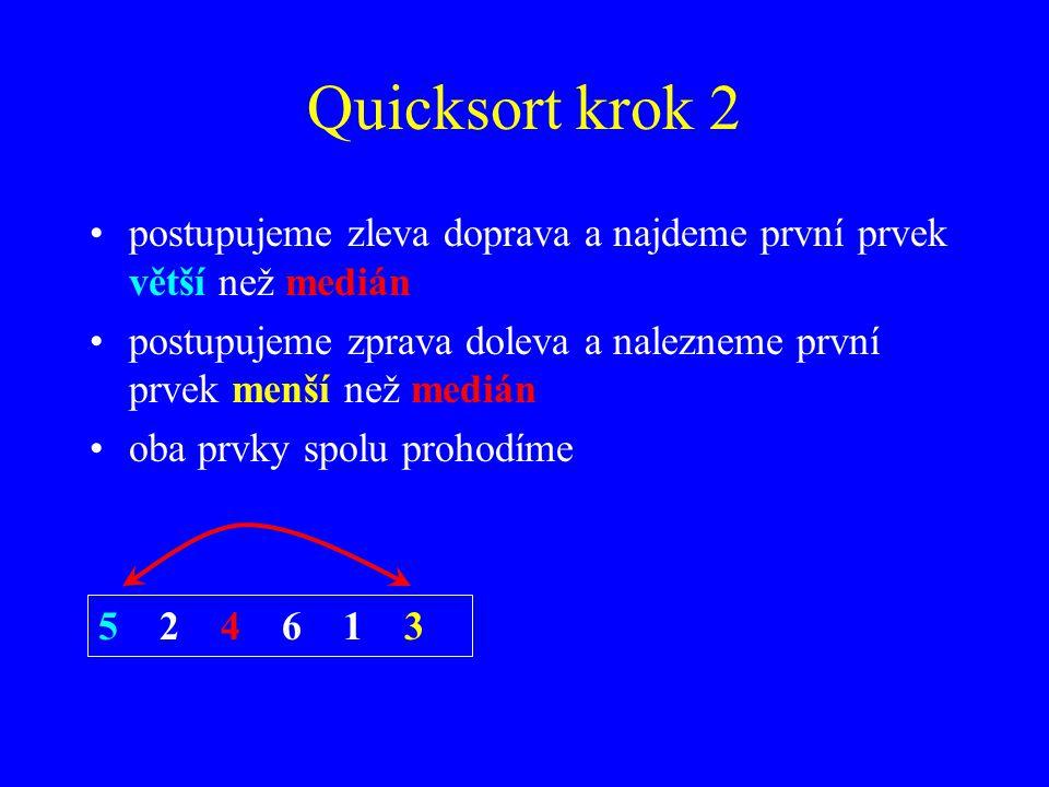 Quicksort krok 2 postupujeme zleva doprava a najdeme první prvek větší než medián.